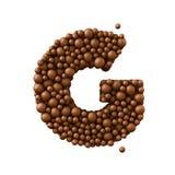Beschriften Sie G, der von den Schokoladenblasen, Milchschokoladekonzept gemacht wird, 3d übertragen Lizenzfreie Stockfotos