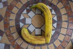 Beschriften Sie J, das mit Bananen gemacht wird, um einen Buchstaben des Alphabetes mit Früchten zu bilden Stockbilder