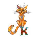 Beschriften Sie K für Fantasie-kyrillisches Alphabet - Azbuka mit roter Katze Stockbild