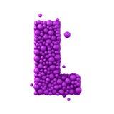 Beschriften Sie L, das von den Plastikperlen, die purpurroten Blasen gemacht wird, lokalisiert auf Weiß, 3d übertragen Lizenzfreie Stockbilder