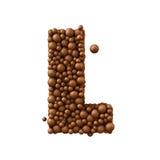 Beschriften Sie L, das von den Schokoladenblasen, Milchschokoladekonzept gemacht wird, 3d übertragen Lizenzfreie Stockbilder
