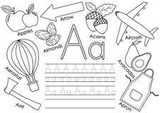 Beschriften Sie A Lernen des englischen Alphabetes mit Bildern Stockbild