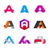 Beschriften Sie a-Logoikone, Schablonenelemente zu entwerfen Lizenzfreies Stockfoto