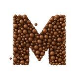 Beschriften Sie M, das von den Schokoladenblasen, Milchschokoladekonzept gemacht wird, 3d übertragen Stockfotos
