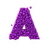 Beschriften Sie A machte von den Plastikperlen, die purpurroten Blasen, lokalisiert auf Weiß, 3d übertragen Stockbild