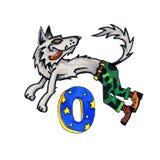 Beschriften Sie O für Fantasie-kyrillisches Alphabet - Azbuka mit Werwolf Lizenzfreies Stockfoto
