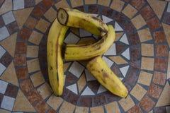 Beschriften Sie R, das mit Bananen gemacht wird, um einen Buchstaben des Alphabetes mit Früchten zu bilden Lizenzfreie Stockbilder