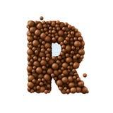 Beschriften Sie R, das von den Schokoladenblasen, Milchschokoladekonzept gemacht wird, 3d übertragen Stockfotos