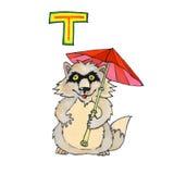 Beschriften Sie T für Fantasie-kyrillisches Alphabet - Azbuka mit Waschbär tanuki Lizenzfreie Stockfotos