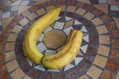 Beschriften Sie U, das mit Bananen gemacht wird, um einen Buchstaben des Alphabetes mit Früchten zu bilden Stockfotografie