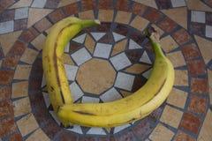 Beschriften Sie V oder C, die mit Bananen gemacht werden, um einen Buchstaben des Alphabetes mit Früchten zu bilden Stockfotografie