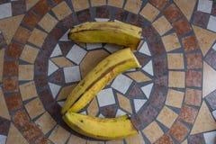 Beschriften Sie Z, das mit Bananen gemacht wird, um einen Buchstaben des Alphabetes mit Früchten zu bilden Lizenzfreie Stockbilder