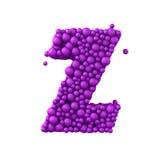 Beschriften Sie Z, das von den Plastikperlen, die purpurroten Blasen gemacht wird, lokalisiert auf Weiß, 3d übertragen Stockbild