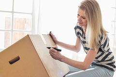 Beschriftender beweglicher Kasten der Frau zu Hause lizenzfreie stockfotografie