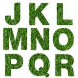 Beschriftet J, k, L, m, n, O, p, q, r, das vom grünen Gras gemacht wird Stockfotos