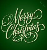 Beschriftung der frohen Weihnachten Hand Lizenzfreies Stockbild