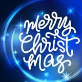 Beschriftung der frohen Weihnachten Hand geschriebenes Plakat der frohen Weihnachten Lizenzfreie Stockfotos