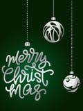 Beschriftung der frohen Weihnachten Hand geschriebenes Plakat der frohen Weihnachten Stockfotos