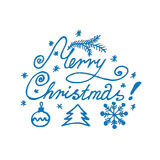 Beschriftung der frohen Weihnachten, Handkalligraphie Stockfoto