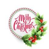 Beschriftung der frohen Weihnachten im KreisZuckerstangerahmen Vektor Abbildung