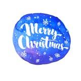 Beschriftung der frohen Weihnachten mit weißem Schnee lizenzfreie abbildung