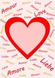 Beschriftung der Wort Liebe mehrsprachig auf Rosa Lizenzfreie Stockfotos