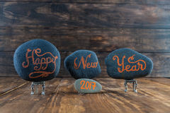 Beschriftung des guten Rutsch ins Neue Jahr 2017 Handgeschrieben Lizenzfreies Stockfoto