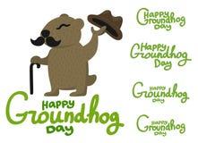 Beschriftung für Groundhog Day-groundhog mit einem Schnurrbart Lizenzfreies Stockbild