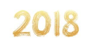 Beschriftung mit 2018 Ziffern Hand Trocknen Sie Bürstenbeschaffenheitseffekt Glückliches neues Jahr Frohe Weihnachten Staffelung  vektor abbildung