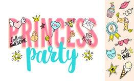 Beschriftung Prinzessin Party mit girly Gekritzeln und Hand gezeichneten Phrasen für Valentinsgrußtageskartendesign, Mädchen ` s  Lizenzfreie Stockfotos