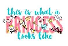 Beschriftung Prinzessin Party mit girly Gekritzeln und Hand gezeichneten Phrasen für Valentinsgrußtageskartendesign, Mädchen ` s  Stockbilder