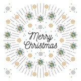 Beschriftung und elegante Rahmen Linie Kunstweißhintergrund der frohen Weihnachten stock abbildung