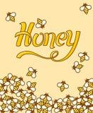 Beschriftung von Symbolen auf dem Themahonig Viel süße Bienen das Blattpapier Flache Art des Entwurfs Lizenzfreies Stockbild