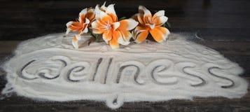 Beschriftung Wellness im Sand Stockfotografie