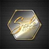 Beschriftungs-Black Friday-Verkauf auf metallischem Hexagon Stockfoto