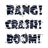 Beschriftungs-Knall, Abbruch, Boom Die Buchstaben werden in Stücke durch Auswirkung oder Explosion und in Scherben von den Buchst vektor abbildung