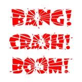Beschriftungs-Knall, Abbruch, Boom Die Buchstaben werden in Stücke durch Auswirkung oder Explosion und in Scherben von den Buchst stock abbildung