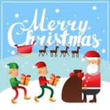 Beschriftungs-Quadratpostkarte der frohen Weihnachten Hand Lizenzfreies Stockfoto