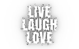 Beschriftungsillustration mit Live Laugh Love-Text Stockfotos