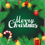 Beschriftungskalligraphie-Quadratpostkarte der frohen Weihnachten Hand Stockbild