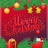 Beschriftungskalligraphie-Quadratpostkarte der frohen Weihnachten Hand Lizenzfreie Stockfotografie