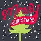 Beschriftungskartenhippie der frohen Weihnachten Lizenzfreies Stockfoto