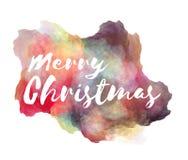 Beschriftungsphrase der frohen Weihnachten Handauf nachgemachtem Spritzen des Aquarells Farbüber weißem Hintergrund vektor abbildung