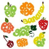 Beschriftungssatz der frischen Frucht Stockfotos