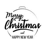 Beschriftungsschablone der frohen Weihnachten und des guten Rutsch ins Neue Jahr Stockbild