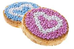 «Beschuit που συναντιέται muisjes» με τις καρδιές, ολλανδικά τρόφιμα στοκ εικόνα