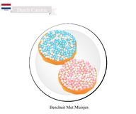 Beschuit Met Muisjes, A Traditional Treat of Netherlands. Dutch Cuisine, Beschuit Met Muisjes or Traditional Hard and Dry Biscuit Topped with Muisjes Treat at Stock Photos