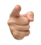 beschuldigt Die Hand zeigen lokalisiert auf Weiß Lizenzfreie Stockfotos
