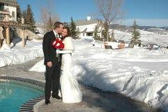 Bese a la novia fotografía de archivo libre de regalías