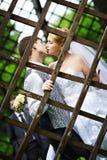 Bese la novia y al novio en la caminata de la boda Fotos de archivo